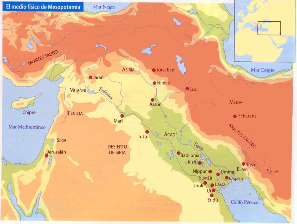 Utilizando estos mapas de Mesopotamia y de Egipto