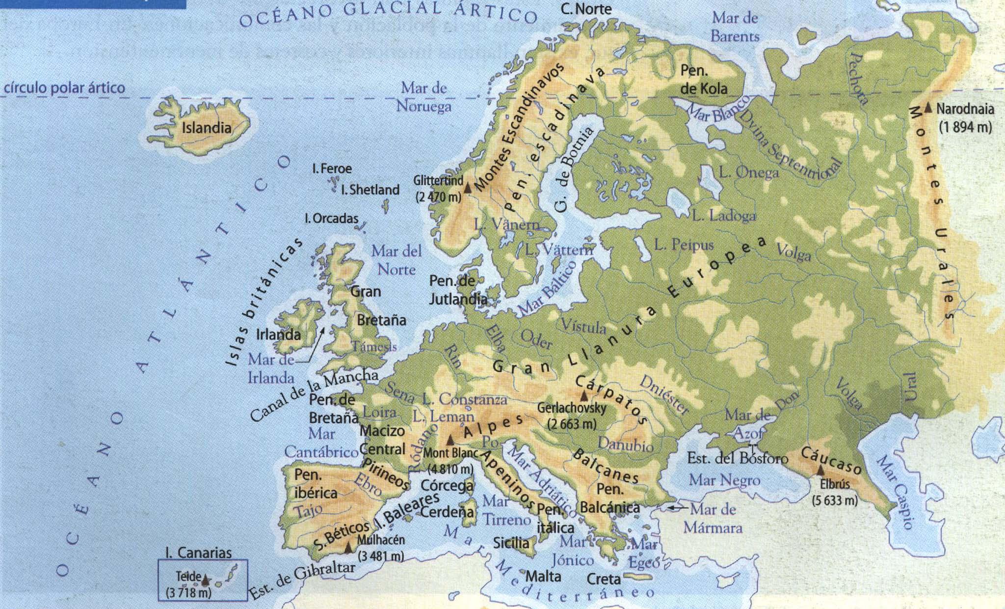 Trabajos geografa Europa Fsico